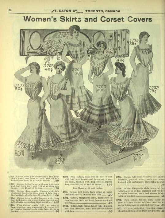 eatons skirts and corset covers