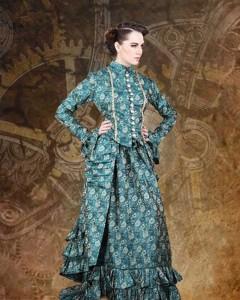 turq steam punk dress
